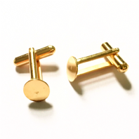 10pc 22k Gold plated 9mm Flat Pad Cufflink Blanks